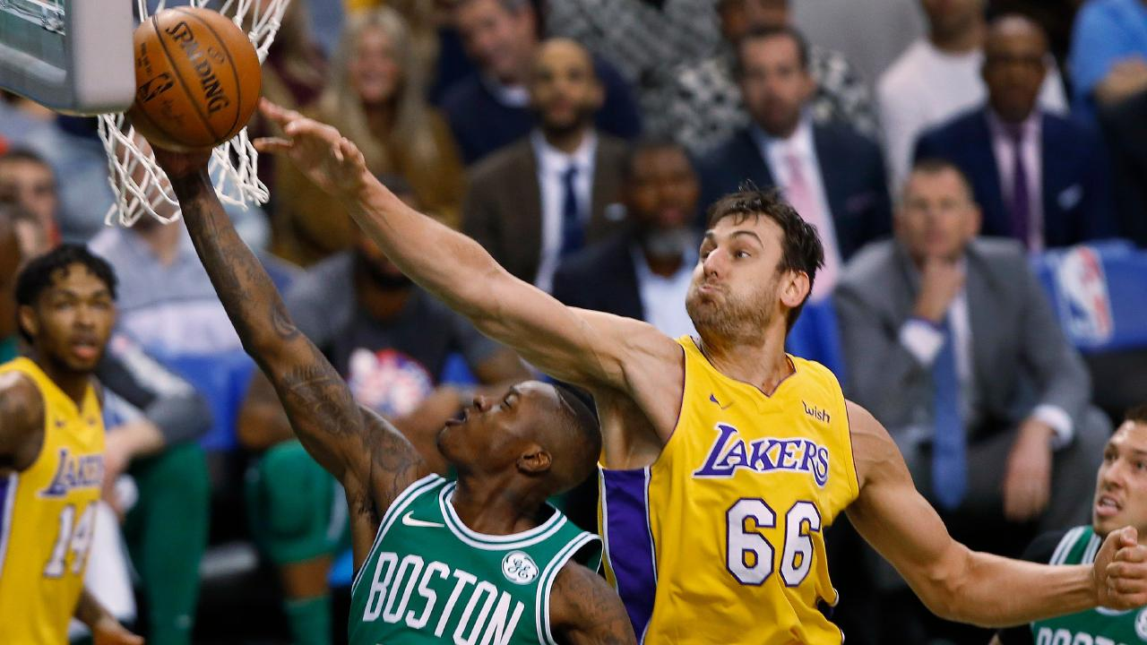 Bogut in action for the LA Lakers late last year,
