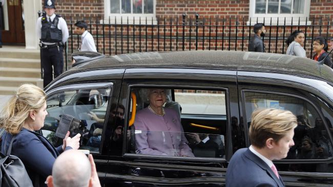 'The Queen' passes the hospital after Kate gave birth to a baby boy, weighing 3.8 kilograms. Picture: AP Photo/Kirsty Wigglesworth