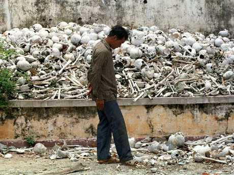 Skulls and nones of Killing Fields victims at Tuol Sleng Genocide Museum in Phnom Penh.