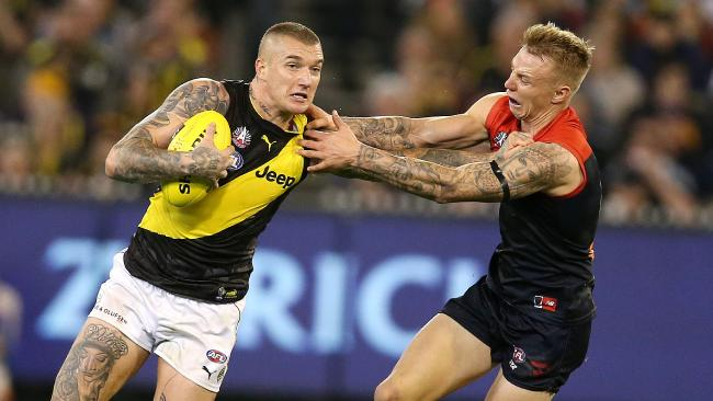Dustin Martin didn't reach his usual heights but provided some trademark 'don't argues'. Picture: Michael Klein