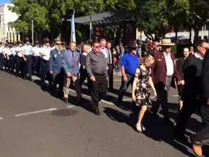 Thousands line Maryborough's CBD for the Anzac parade