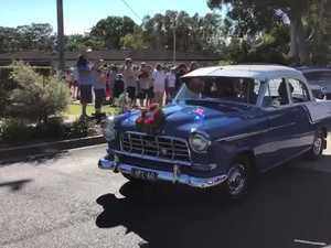 Vintage cars at the Caloundra Anzac Day march