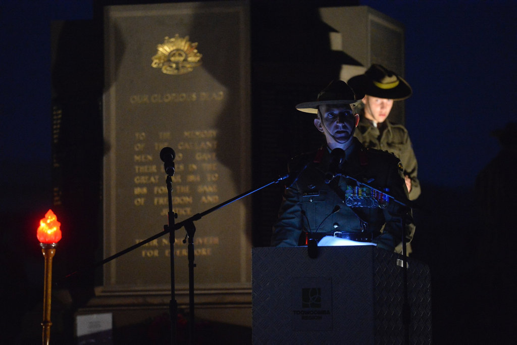 Colonel James Brown at the Anzac Day dawn service at Mothers' Memorial in Toowoomba.