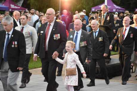 Hundreds gathered for Nambour's 2018 Dawn Service which included a parade of veterans and performances from Nambour State College students.