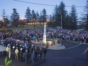 The crowd surrounds the Yamba cenotaph for the Anzac