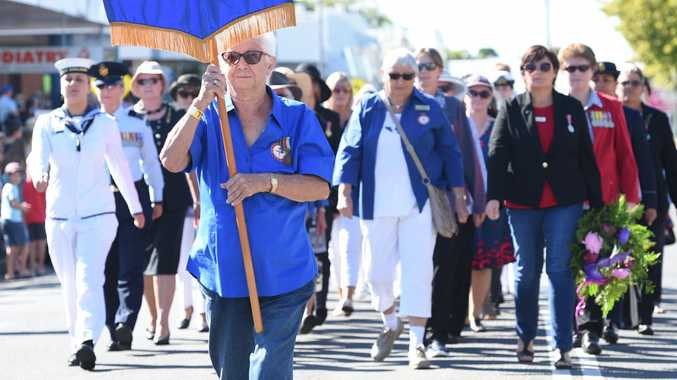 Proud former navy officer leads ex-servicewomen in march