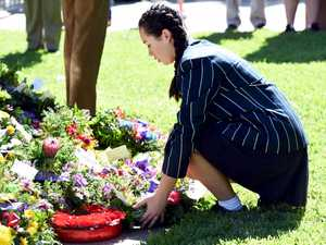 Anzac Day service, Maryborough Queens Park cenotaph.