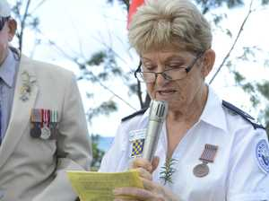 Jackie Taffs at the 2018 Wooli Anzac Day Service.