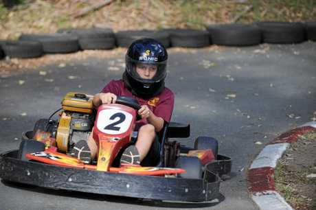 Bailey Edwards tackles the Big Kart Track kids course.