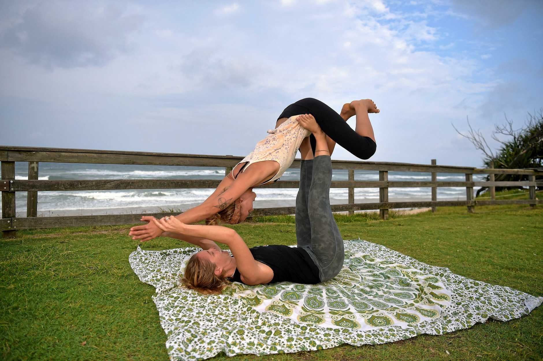 Holiday socials at Tickle Park, Coolum. Zen Thai Shiatsu in the park.Ines Oliver gives treatment to Ellen Watts.