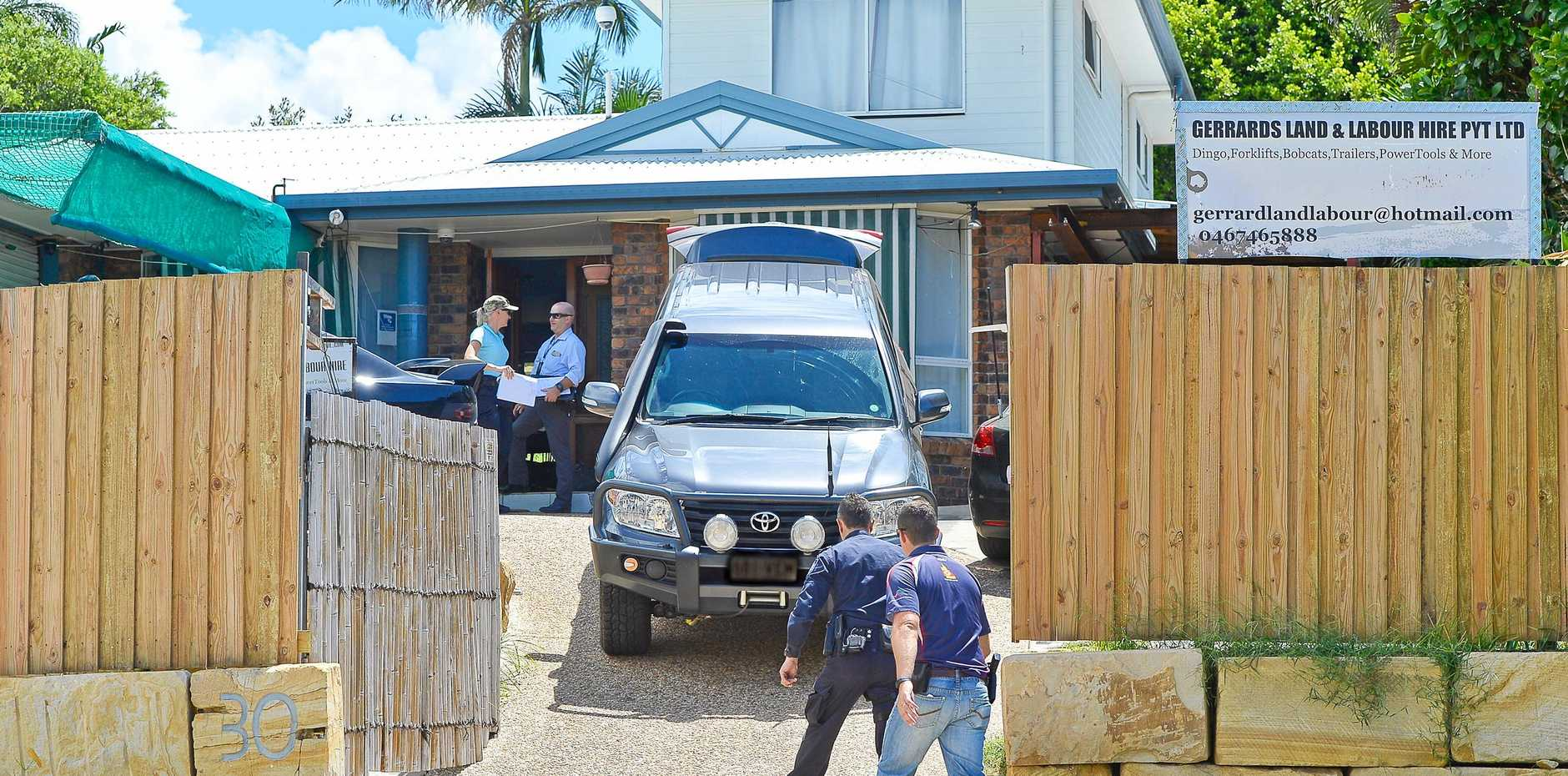 SUCCESSFUL MISSION: Police and Australian Border Force officers raid a house in LaTrobe St, Tannum Sands. Inset: Garet Louis Gerrard.
