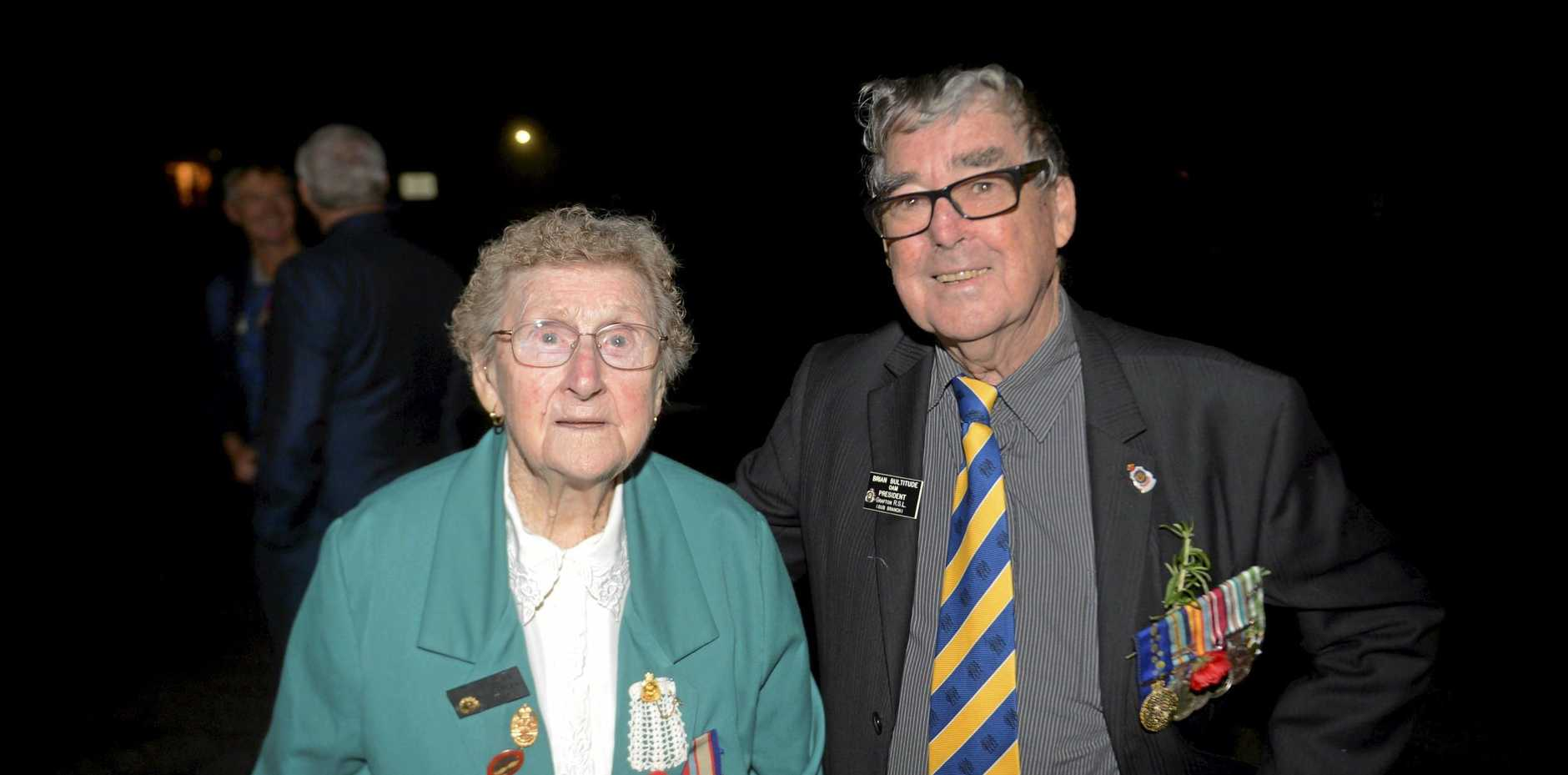 Amy White and Brian Bultitude at the first ever Copmanhurst Anzac Day Dawn Service.