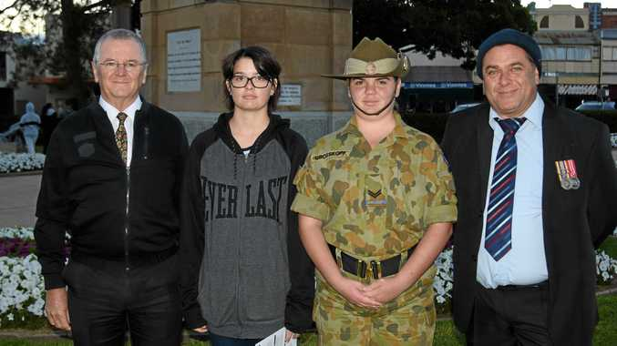 NEXT GENERATION: (From left) Warwick Christian College principal Carmelo Rubio, and Liz, Abby and Noel Grosskopf at the dawn service.