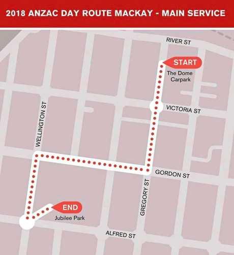 Mackay Anzac Parade Map.
