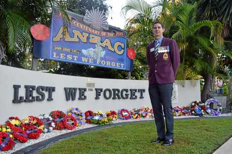 Toogoom RSL & District Sub-Branch president and veteran Daniel Parker - Dawn service, Anzac Day 2018.