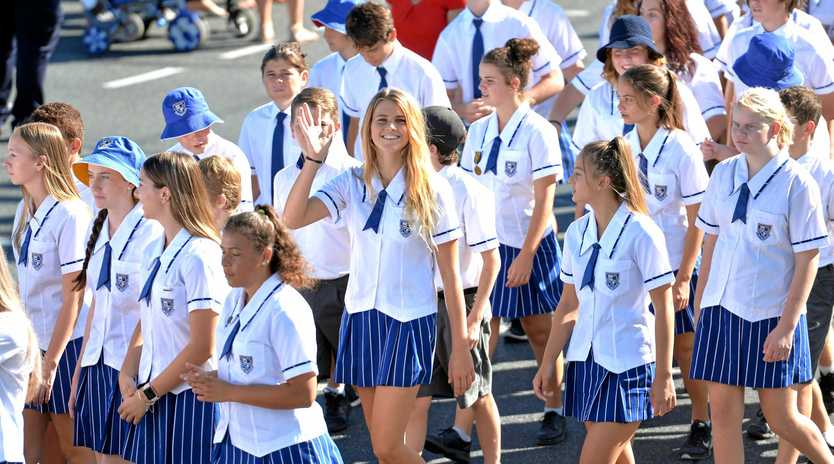 Mackay North State High School students march in the Anzac Day Parade.