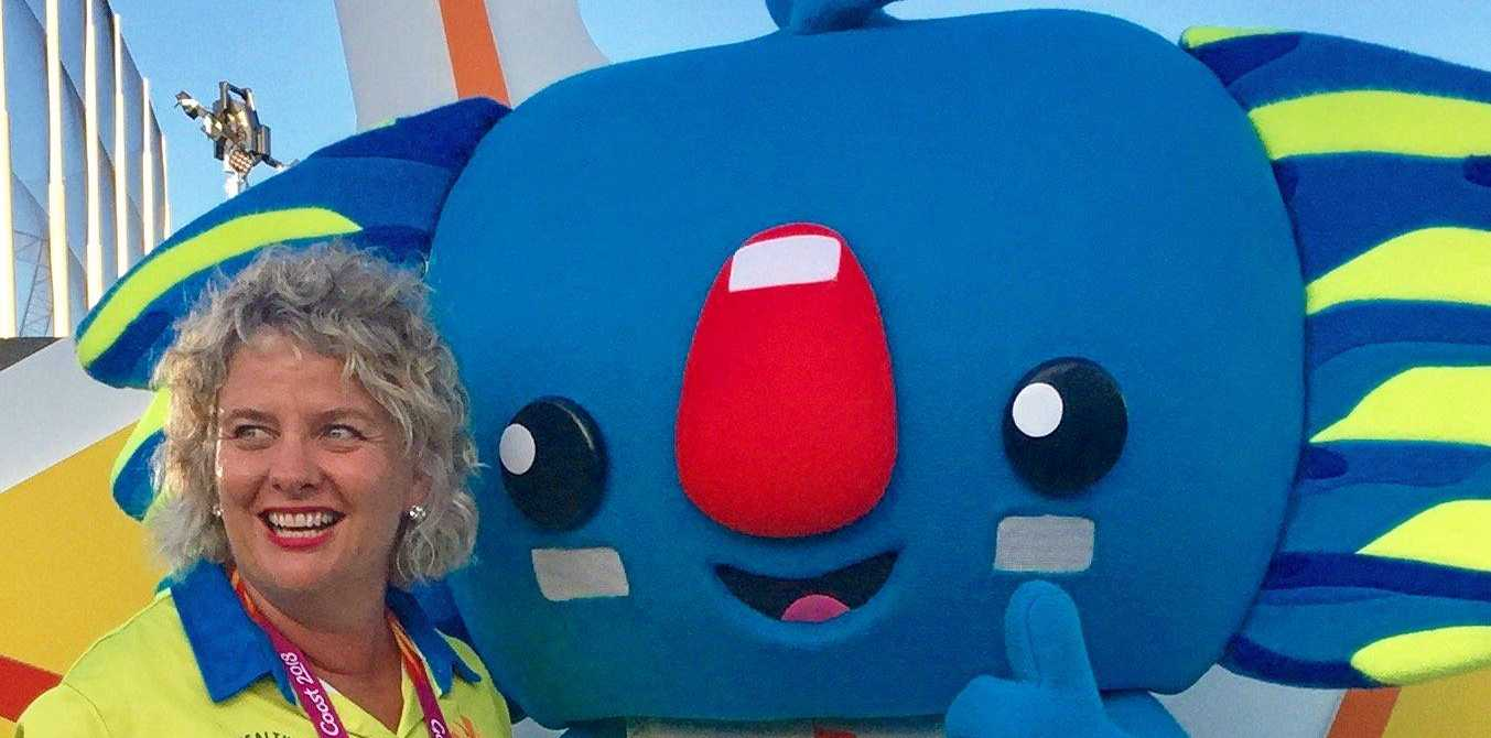 VOLUNTEER: Toowoomba's Jo Capp, with mascot Borobi, during her time volunteering at the Commonwealth Games.