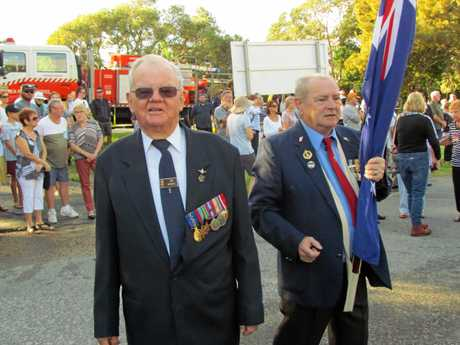 Guest of honour at the Pottsville Anzac Day service, Flight Sergeant Jim Banks OAM, who flew in top-secret missions to drop special force agents behind enemy lines over the Pacific during WWII.