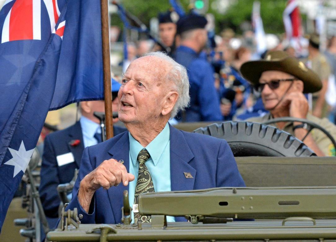 World War II veteran Henry Preston prepares for the start of the Anzac Day march in Maroochydore.