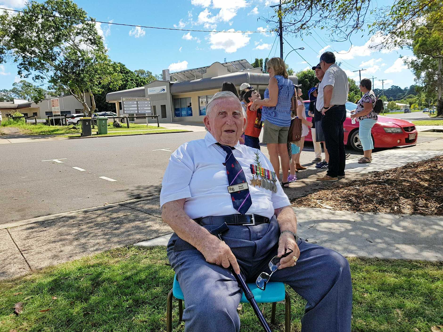 Sunshine Coast WWII veteran Basil Stahl at the service in Yandina.