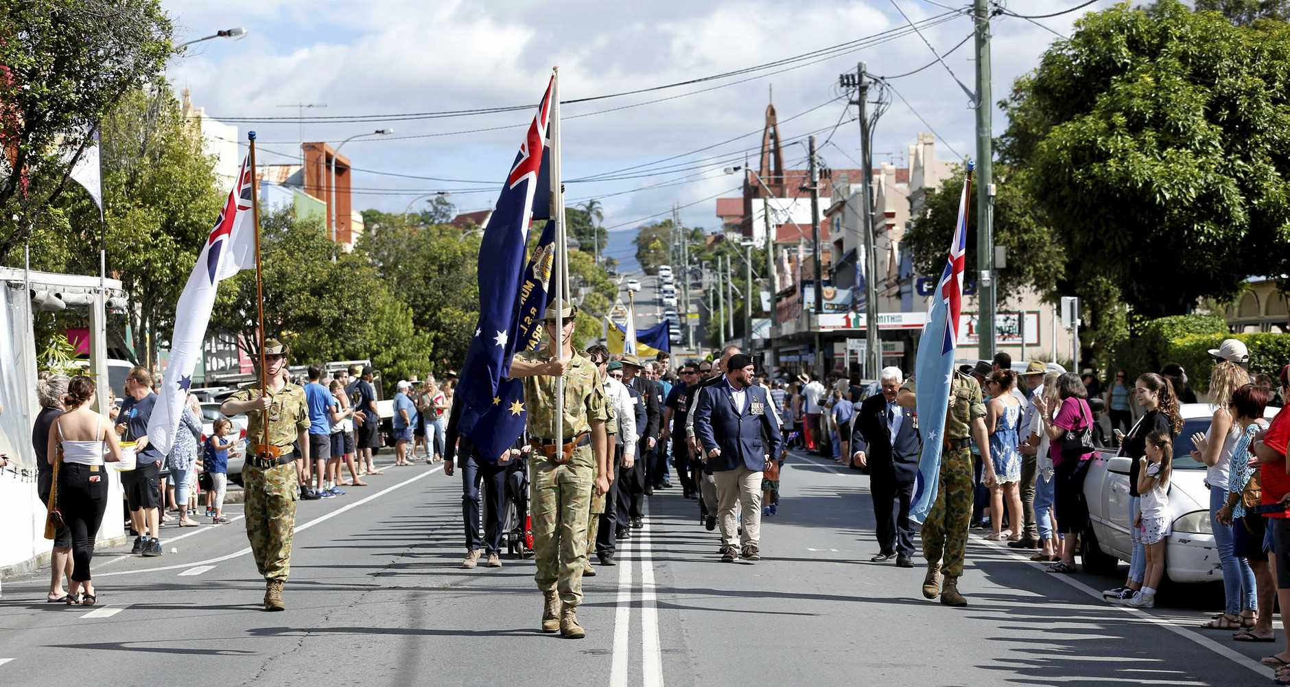 Hundreds lined the streets during the Anzac Day march in Murwillumbah.