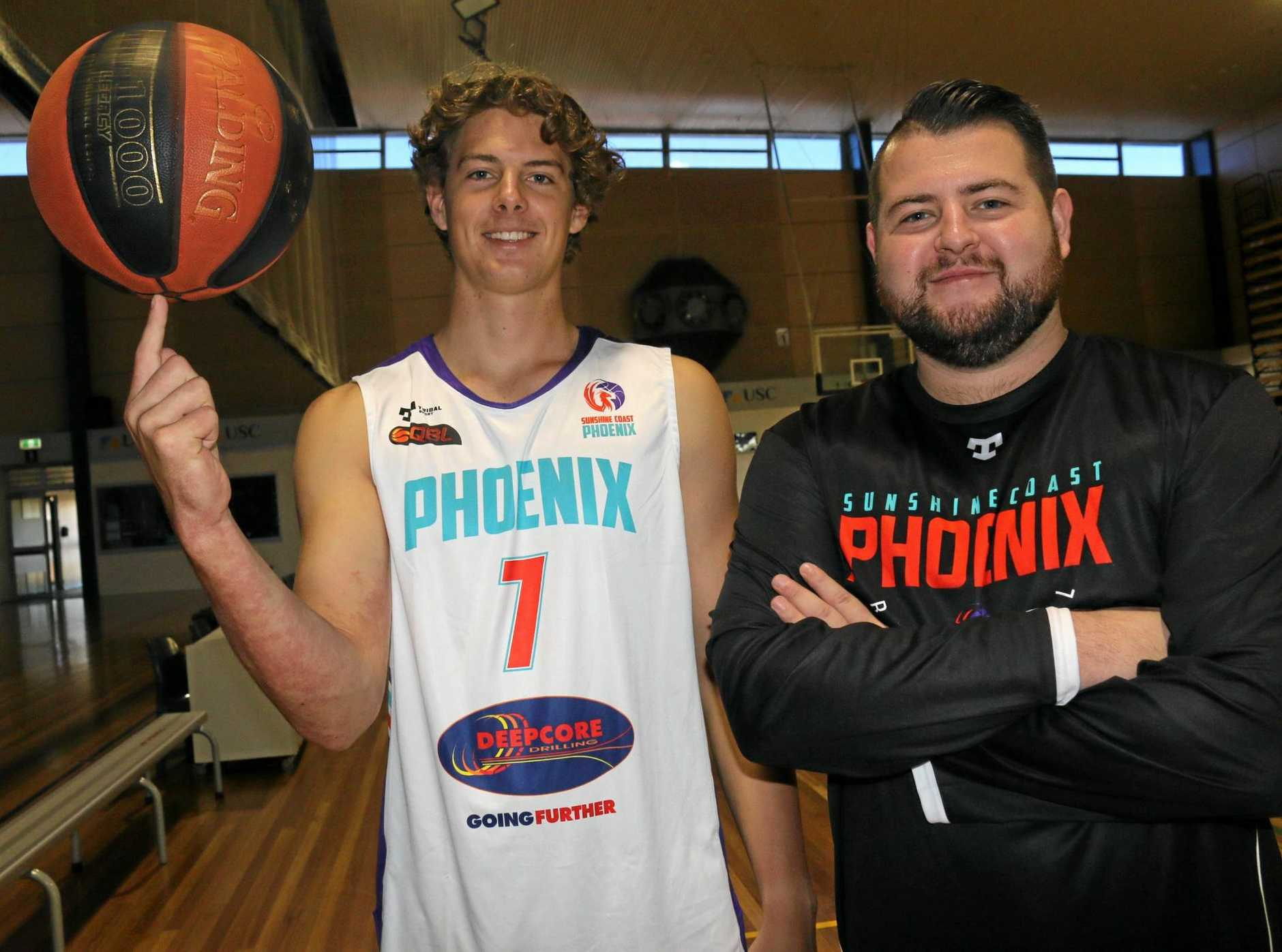 GAME ON: Sunshine Coast Phoenix player Tom Fullarton and coach Brayden Heslehurst are ready for the season-opening clash with USC Rip City on Friday.