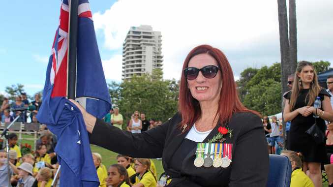Returned Servicewoman Annie Strawbridge was one of the flag bearers for the Tweed Heads Anzac Day service.