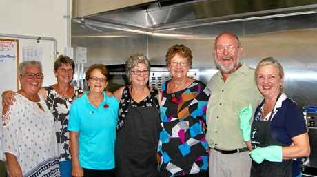 Members of the Poona Community Progress Association and volunteers cook up a mean Gunfire Brekkie for those who attended the Anzac Day service.