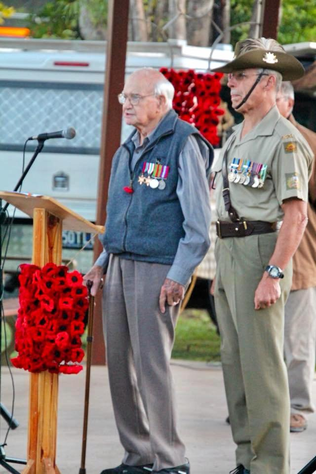 WWII veteran Arthur Pannel assisted by retired warrant officer of Royal Australian Electrical and Mechanical Engineers Paul Jenkinson recited the Ode at the dawn service at Poona's Anzac Day commemoration.
