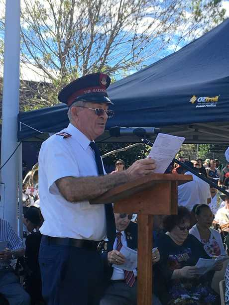 BUNDAMBA SERVICE: The Anzac Day 2018 memorial at Bundamba Honour Stone was led by BAOC Padre, Major Rod Strong.