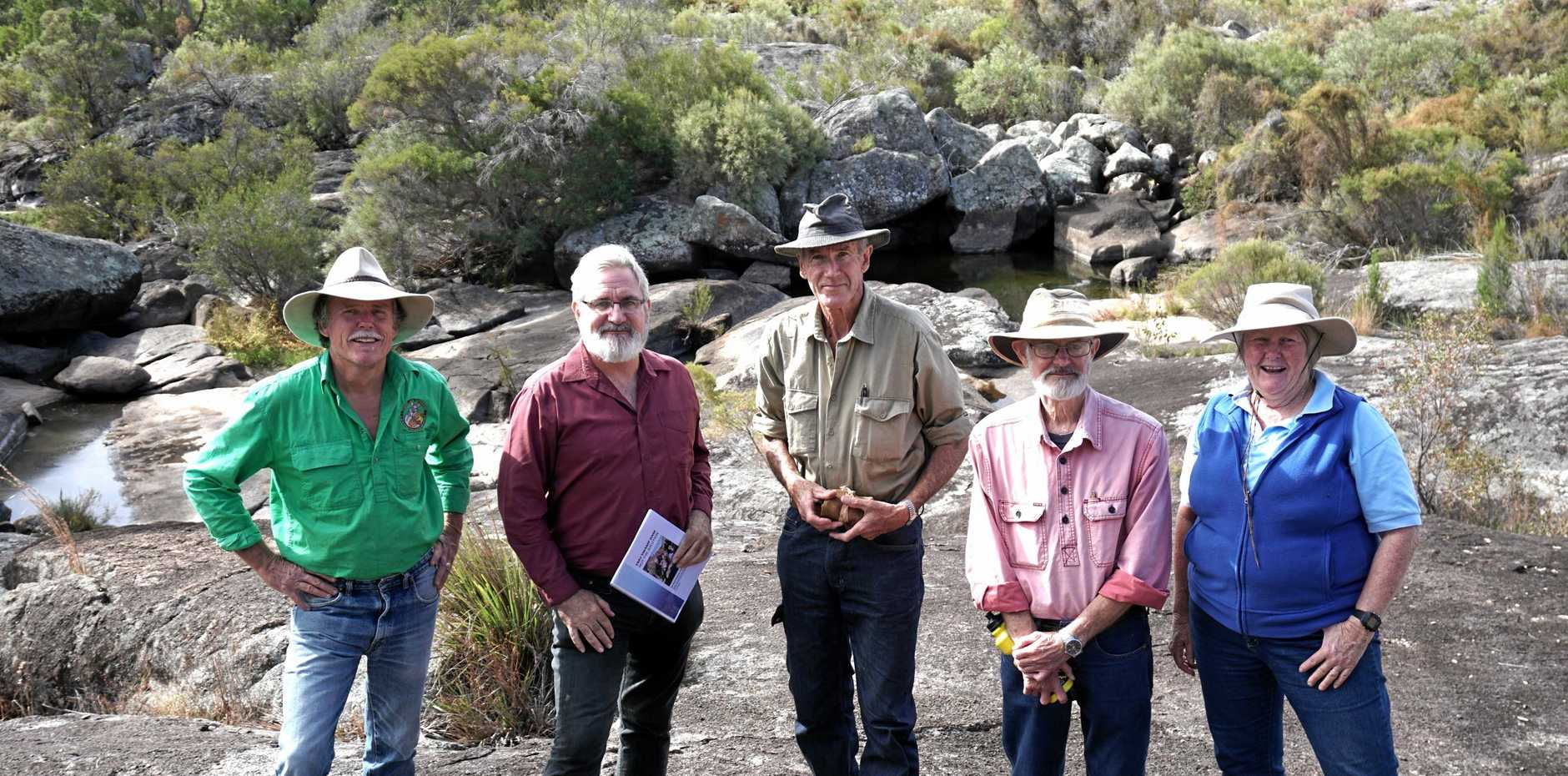 DAM COUNTER: Senator Andrew Bartlett (second from left) with Rick Humphries, Rob Simcocks, Chris Gray and Liz Bourne at the proposed Emu Swamp Dam site.