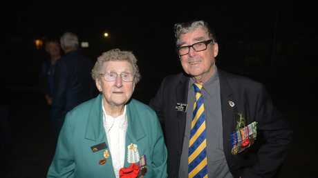 World War II veteran Amy White with Copmanhurst Anzac Day organiser Brian Bultitude shortly after the dawn service.