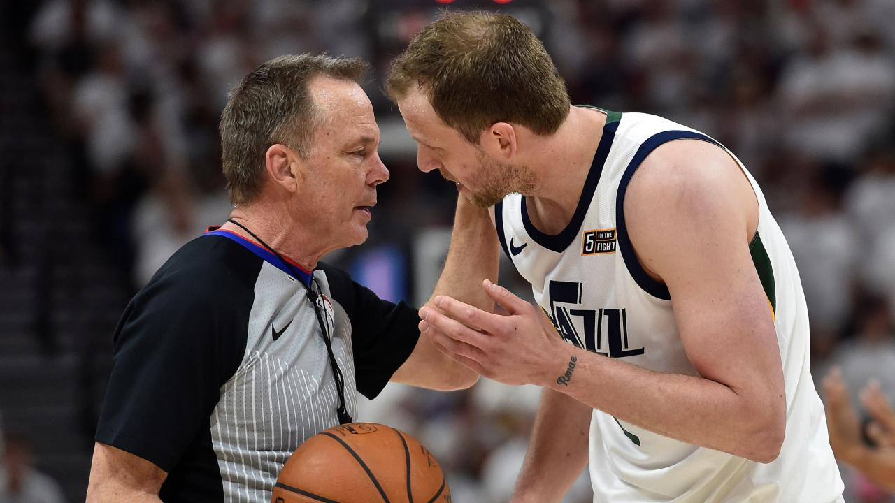 Joe Ingles talks to a match official about a foul call. Picture: Gene Sweeney Jr./Getty Images