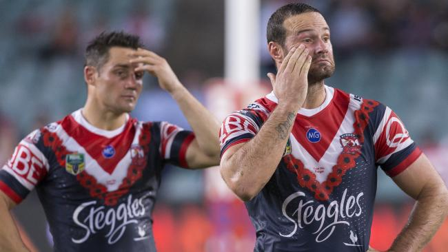 Cooper Cronk and Boyd Cordner can't hide it. (AAP Image/Craig Golding)