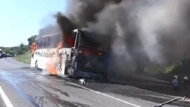 The bus that caught fire on the way to Gallipoli Dawn Service.  Picture:  Nine News