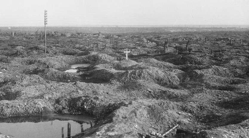 The lone white cross marking the grave of Tasmanian soldier Captain Ivor Margetts killed in action on July 24, 1916. The grave was later obliterated by the Germans. Picture: Australian War Memorial/E00532 Anzac Day: How the war memorial movement began