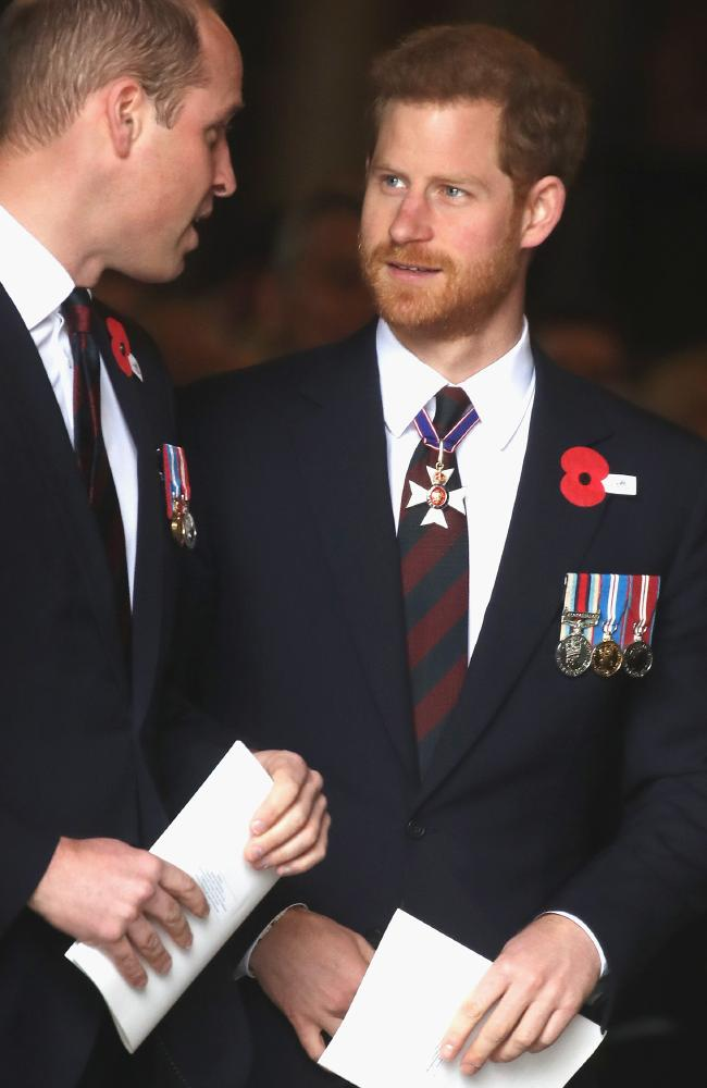 Prince William and new uncle Prince Harry attended a Westminster Anzac service. Picture: Chris Jackson/Getty Images.