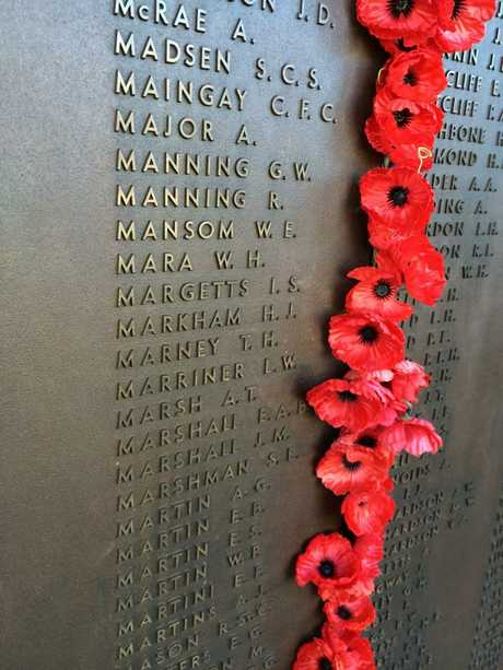 Ivor Margetts' name on the Roll of Honour, Canberra.