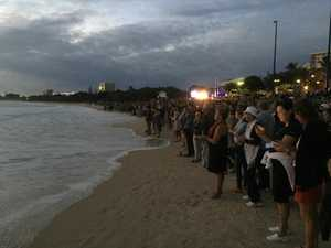 Crowds at Mooloolaba Beach for Anzac Day dawn service