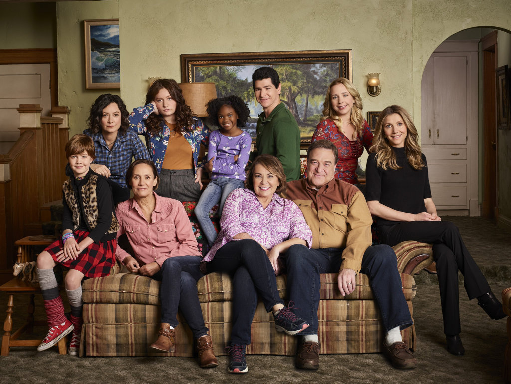 Ames McNamara, Sara Gilbert, Laurie Metcalf, Emma Kenne, Jayden Rey, Roseanne Barr, Michael Fishman, John Goodman, Lecy Goranson and Sarah Chalke star in the reboot of Roseanne.