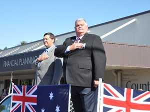 Banana Shire Mayor Nev Ferrier and Ian .... salute