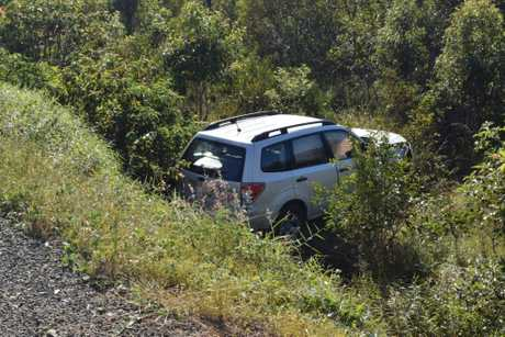 Four people were involved on the crash on Maryborough Hervey Bay Rd which had one car end up in a ditch.