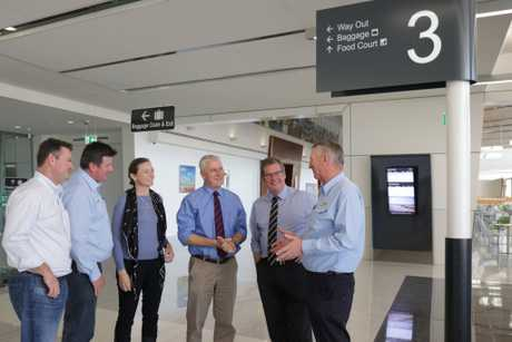 IN TALKS: Flagging official interest in building Badgerys Creek is (from left) Wagners business manager Shane Charles, CEO Cameron Coleman, Wellcamp Airport general manager Sara Hales, Acting Prime Minister Michael McCormack, Groom MP John McVeigh and Wagners chairman Denis Wagner.