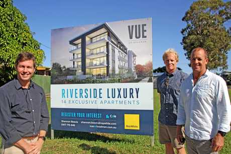 QUITE A VIEW: Shannon Beavis of Ray White Maroochydore with Cameron Cole and Steve Cole of Cole Projects at VUE on Bradman.