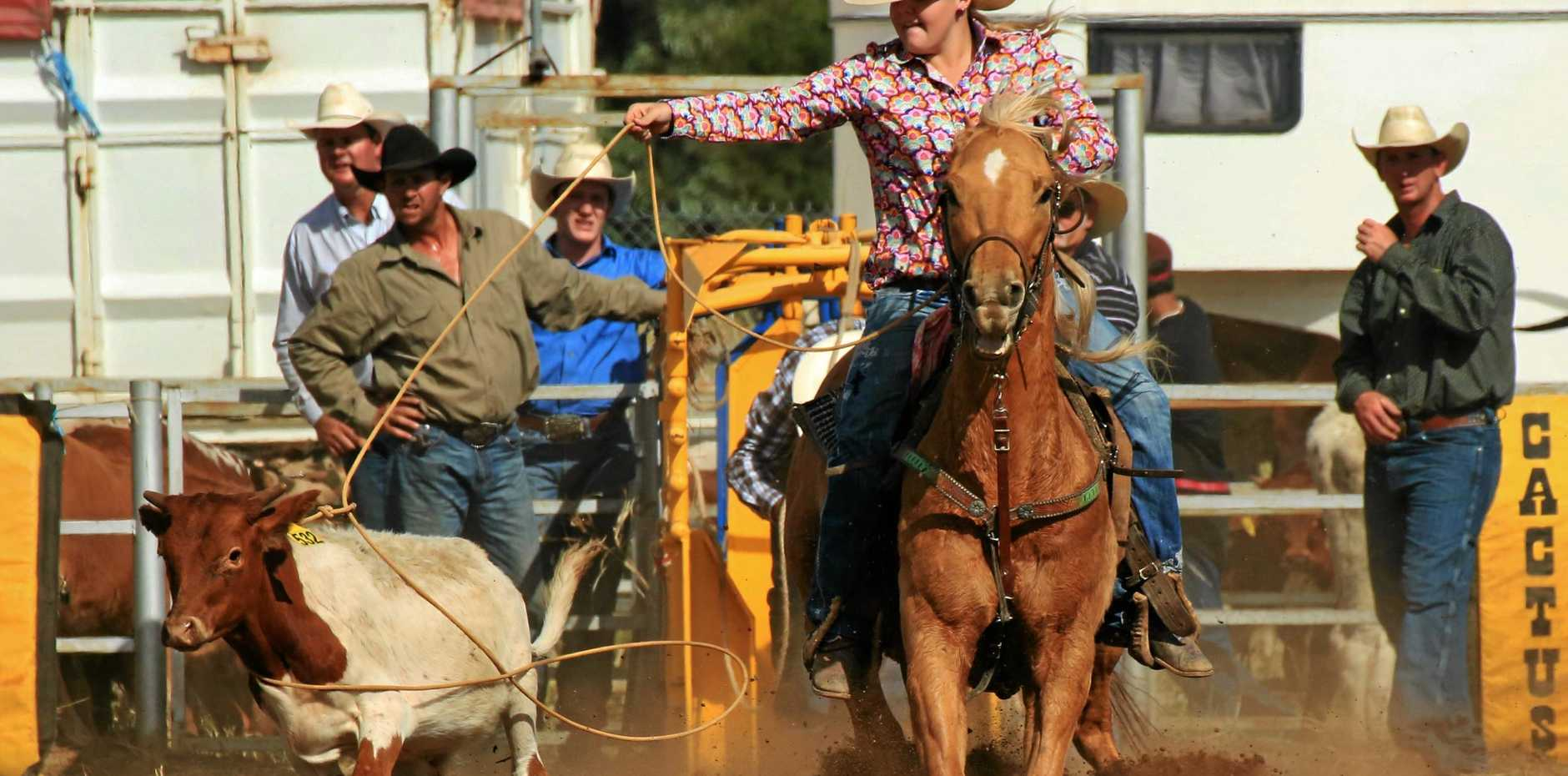 RIGHT: Aleisha O'Dell placed first in the ladies' breakaway with a ride of 2.8 seconds at the Blackwater May Day weekend rodeo last year.