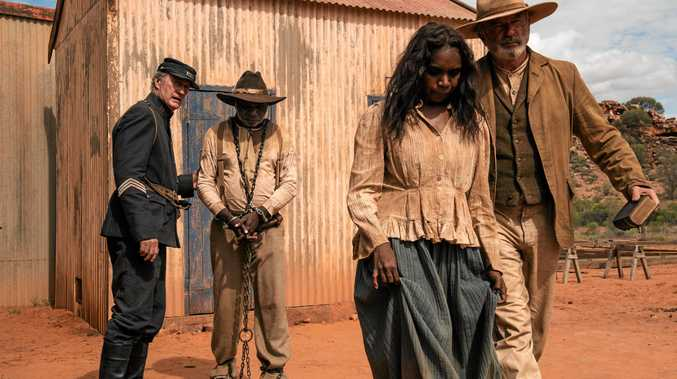 Bryan Brown, Hamilton Morris, Natassia Gorie Furber and Sam Neill in a scene from the movie Sweet Country.