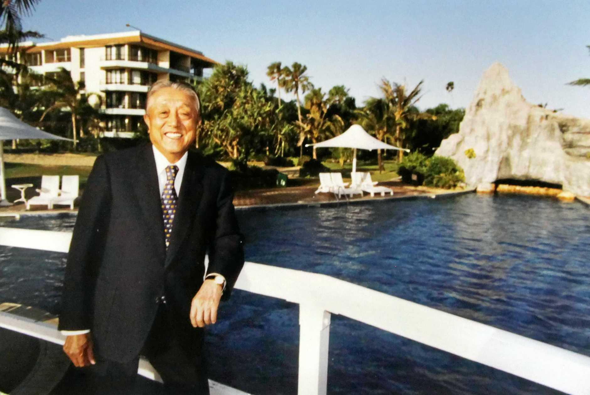 Historic photo of Japanese businessman Fukuzo Iwasaki at the Iwasaki Resort on the Capricorn Coast photographed on 1 November 1996.   Photo The Morning Bulletin.   ROK100611historic12