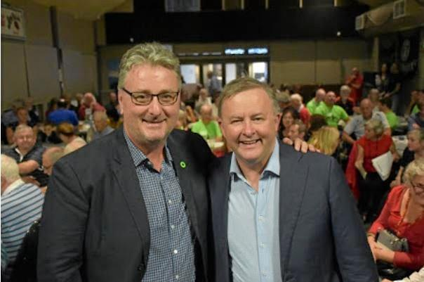 Labor Shadow Minister Anthony Albanese at the Coffs Hotel with endorsed candidate for Cowper Andrew Woodward.