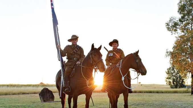 Ivan Gillies and Graham Hardwick at the Muckadilla dawn service.