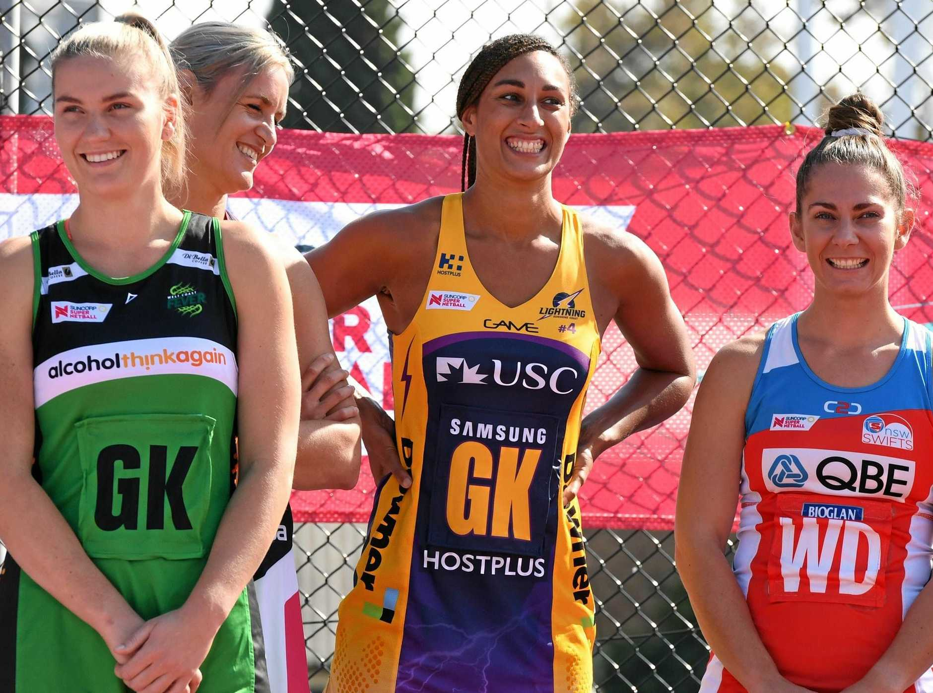 READY TO PLAY: Geva Mentor, centre, with other captains ahead of the Super Netball season.